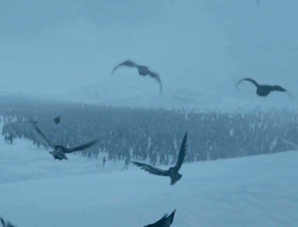 Quando Bran vê que os Caminhantes estão se aproximando