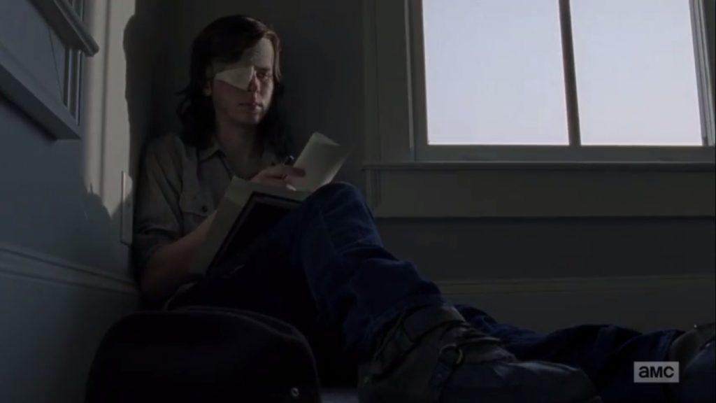 Carl escrevendo a carta para seu pai